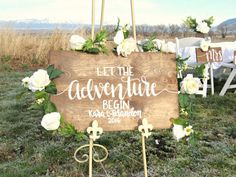 Let The Adventure Begin Wedding Sign // Hand Lettered Wood Wedding Decor // Rustic Wedding Sign