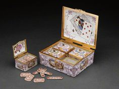 Box Set of Gaming Pieces (Boîte de jeu), Austrian (Vienna), about 1735–40, Du Paquier Porcelain Manufactory, hard-paste porcelain, polychrome enamel decoration, gilding; gold mounts; diamonds.