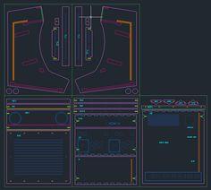 Plan de découpe sous autocad de la borne d'arcade bartop 2 joueurs Arcademy
