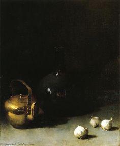 Still life with garlic, Soren Emil Carlsen (1853-1932, Denmark)