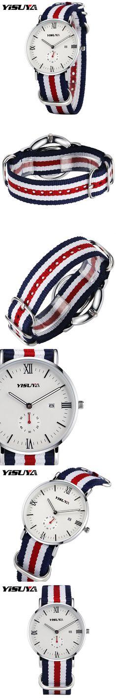 YISUYA 2017 Famous Brand Wristwatch Women's Nylon Band Quartz-watch Ladies Calendar Luxury Sports Watches Girl Relogio Feminino