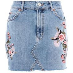 TopShop Petite Blossom Embroidered Skirt (3,055 DOP) ❤ liked on Polyvore featuring skirts, mini skirts, mid stone, topshop mini skirt, petite skirts, flower mini skirt and short blue skirt
