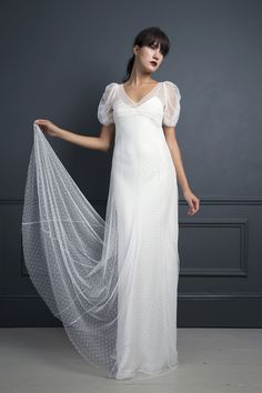 Kate Moss dress, from the Standing on Stardust collection by Halfpenny London Regency Wedding Dress, Slip Wedding Dress, Regency Gown, Wedding Dress Trends, Wedding Dress Sleeves, Dream Wedding Dresses, One Shoulder Wedding Dress, Wedding Gowns, Wedding Outfits