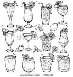 Find Sketch Cocktails Alcohol Drinks Set Hand stock images in HD and millions of other royalty-free stock photos, illustrations and vectors in the Shutterstock collection. Mojito, Margarita Tequila, Food Drawing, Line Drawing, Drawing Sketches, Bloody Mary, Drink Tumblr, Geometric Nature, Food Sketch