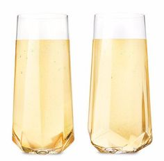 Faceted Stemless Crystal Champagne Flutes