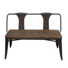 Tabouret Vintage Metal Bench with Back | Overstock.com Shopping - The Best Deals on Dining Chairs