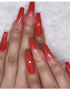 Red Nail Art, Red Acrylic Nails, Simple Acrylic Nails, Pastel Nails, Red Nail Designs, Winter Nail Designs, Acrylic Nail Designs, Dark Red Nails, Bright Red Nails