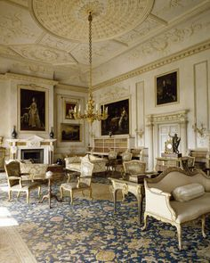The Saloon at Uppark, West Sussex, probably designed by James Paine. The compartmented ceiling and the pedimented chimneypiece are typical of Paine. ©NTPL/Nadia Mackenzie