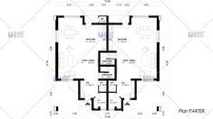 Proiecte de case duplex moderne: confort cu buget redus Design Case, Floor Plans, Diagram, Houses, Floor Plan Drawing, House Floor Plans