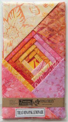 """Timeless Treasures Tonga Treats Batik Pink Lemonade 5"""" Squares Mini Charm P"""