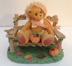 Cherished Teddies Cathy Girl on Bench with Pumpkin Figurine Autumn Fall 269980 | eBay