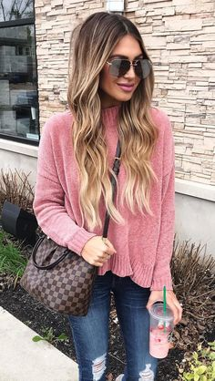 #winter #outfits pink sweater