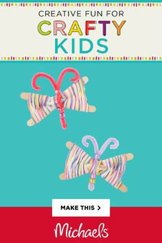 These craft stick butterflies are easy to make! Personalize your own with yarn and pony beads. Spring Crafts For Kids, Craft Projects For Kids, Craft Activities For Kids, Summer Crafts, Preschool Crafts, Easter Crafts, Diy For Kids, Holiday Crafts, Kids Crafts