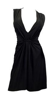 Image of Plus Size Sexy Black Low Cut V-Neck Mini Dress