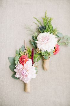 pink boutonnieres photo by Beaux Arts Photographie http://www.ruffledblog.com/rancho-palos-verdes-wedding/