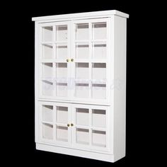 112 Miniature White Display Cabinet Mirror Shelving Doll House