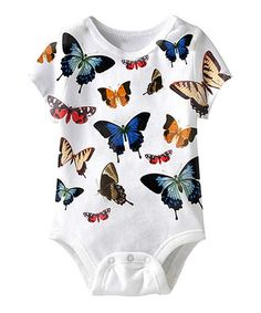 White Butterfly Sublimation Bodysuit - Infant by American Classics #zulily #zulilyfinds