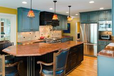 Galleria Maple with a Turquoise Rust finish.Colorful Kitchen with Exquisite Details - traditional - kitchen - richmond - Lane Homes & Remodeling Inc.