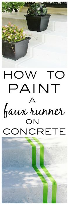 Have boring, plain concrete steps?  Make them stand out with this simple, inexpensive DIY project.  Check out this easy tutorial to paint a faux runner on concrete steps.