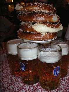 Beer and Pretzels at Hofbräuhaus  Munich,Germany