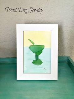 Margarita Sea Glass Art - Sea Glass Art - Beach Glass Art- Nautical Wall Art - Beach Cottage Decor - Florida Treasure Coast - OOAK by BlackDogJewelrynArt on Etsy https://www.etsy.com/listing/271553956/margarita-sea-glass-art-sea-glass-art