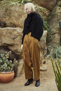 Rosetta Getty Fall 2015 mustard trousers and asymmetric sweaters