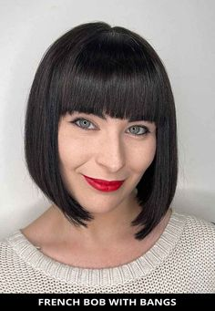 Ask your hairdresser for this all-time best french bob with bangs if you need a fresh cut! Next, tap here to learn more about this look.   Bob Haircuts   Bob with Bangs   French Bob   Photo Credit: @rushhairwatford on Instagram