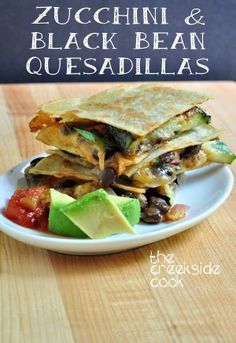 A fast snack, or an easy meal - great either way! Zucchini and Black Bean Quesadillas - The Creekside Cook | #zucchini #glutenfree
