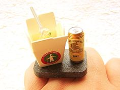 Beer Ring Take Out Pasta Beer Miniature Food by SouZouCreations, $15.00