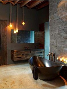 dark bathroom #bathroom tiles, shower, vanity, mirror, faucets, sanitaryware, #interiordesign, mosaics,  modern, jacuzzi, bathtub, tempered glass, washbasins, shower panels #decorating