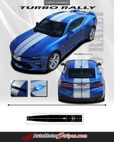 """2016 2017 Chevy Camaro Turbo Rally """"OEM Factory Style"""" Bumper to Bumper 3M Racing Stripes Package for SS RS V6 Models"""
