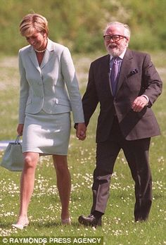 Princess Diana pictured walking hand in hand with her good friend Sir Richard Attenborough, who helped her write speeches during her early days as Princess of Wales. He was well known for his words of wisdom to her.