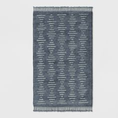 Project 62 Indigo Modern Lines Overtufted Woven Area Rug - Project 62 Barrel Coffee Table, Brass Coffee Table, Cotton Textile, Rectangular Rugs, Modern Area Rugs, Rug Material, Rectangle Shape, Dark Backgrounds, Small Rugs