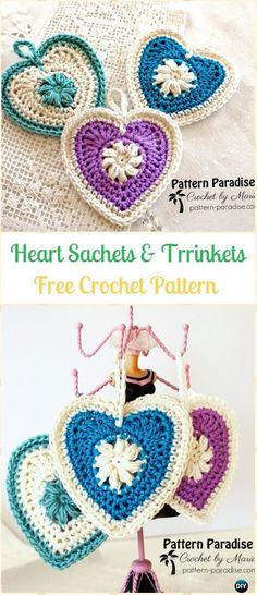 CrochetPuff Heart Sachets and TrinketsFreePattern-Crochet Heart Applique Free Patterns