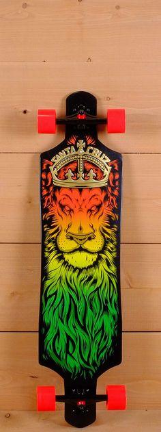"Santa Cruz Prebuilt 40"" Rasta Lion God Drop Thru Cruz Control Longboard"