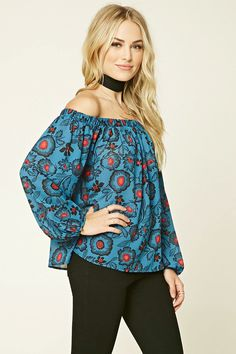 Forever 21 Contemporary - A crepe woven top featuring an off-the-shoulder design, a floral print, buttoned long sleeves, and a flowy silhouette.