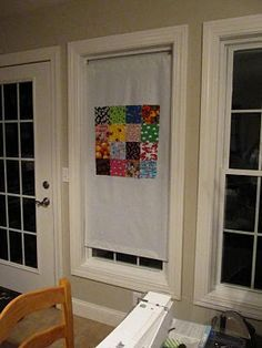 DIY portable quilt/sewing design wall for a room with limited wall space. It hangs in a window! a few different places - window - wall to hutch - door way between office and sewing room or hallway doorway or window?  So many choices
