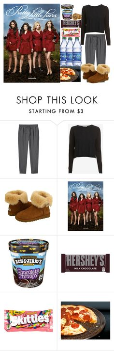 """PLL Marathon."" by jasloves5sos ❤ liked on Polyvore featuring Monki, Autumn Cashmere, UGG Australia, Therapy, Hershey's, River Island, Granite Ware, Random and pll"