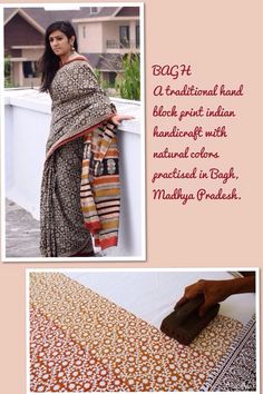 Cotton mull woven bagh hand block print sari Indian Textiles, Indian Fabric, Indian Attire, Indian Wear, Indian Dresses, Indian Outfits, Indian Culture And Tradition, Fashion Terminology, Career In Fashion Designing