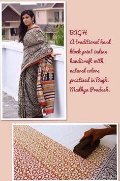 Cotton mull woven bagh hand block print sari