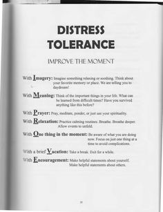 The Art of Dialectical Behavior Therapy: Distress Tolerance: Improve The Moment Therapy Worksheets, Therapy Activities, Therapy Tools, Art Therapy, Music Therapy, Therapy Ideas, Relation D Aide, Mental Health Counseling, Emotional Regulation