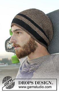 """Crochet DROPS men's hat in """"Nepal"""""""