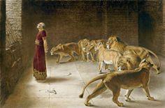 Daniels Answer to the King, Briton Riviere 묵시문학을 근간으로 한 다니엘의 이야기는 환상적인 소재를 즐겨 다룬 낭만주의 화가들에게도 인기 있는 주제였다. '동물의 화가'로 알려진 19세기 영국 빅토리아 시대의 화가 브리턴 리비에르가 그린 '왕에게 대답하는 다니엘'에는 일곱 마리의 사자가 등장한다. 다니엘을 반원으로 둘러싼 사자들은 마치 예언자를 호위하는 것처럼 보인다. 화면 왼쪽 빛이 들어오는 창밖을 향해 뒷짐을 지고 있는 다니엘의 모습은 고통받는 덞은 예언자의 모습이라기보다 나이 든 구도자의 모습에 가깝다. 제국의 황금기를 맞은 19세기 영국에서는 유배 시대의 예언자보다는 보편적 구도자의 모습이 시대에 적합하기 때문이다. 루벤스의 그림과는 달리 다니엘의 여유와 위엄이 느껴진다.