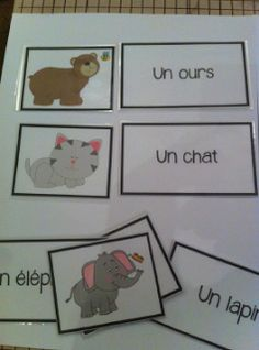 French immersion animal matching game printable
