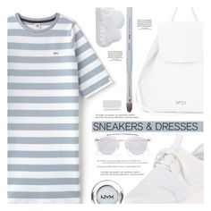 """Sneakers and Dresses"" by aislinnhamilton1993 ❤ liked on Polyvore featuring Balenciaga, Lacoste L!VE, N°21, Westward Leaning, Blinc, NYX, Loewe, Spring, blueandwhite and sneakers"