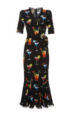 Italian Cocktail V-Neck Dress by DOLCE & GABBANA Now Available on Moda Operandi