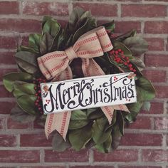 "This 22-24"" Magnolia Wreath is just perfect for a little farmhouse Christmas decor. Merry Christmas sign included. Limited Edition."