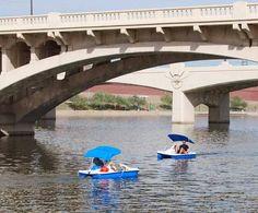Paddleboating, Kayaks, Paddleboards, canoes, boats, on Tempe Town Lake