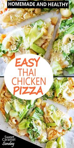 Thai Chicken Pizza with sweet chili sauce is a healthy pita bread pizza! A chicken flatbread pizza recipe that quick and easy, perfect for Friday nights! Pizza Recipes, Lunch Recipes, Easy Dinner Recipes, Delicious Recipes, Easy Recipes, Easy Meals, Flatbread Recipes, Healthy Recipes, Popular Recipes