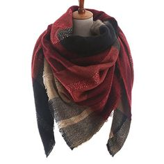 RACHAPE Women Winter Blanket Scarf Large Wrap Shawl Plaid Pashmina